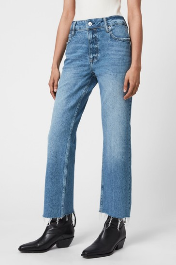 AllSaints Blue Straight Bootcut Cropped Jeans