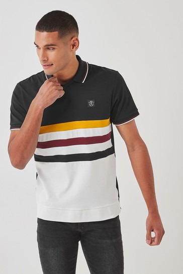 Black/Ecru Blocked Polo Shirt