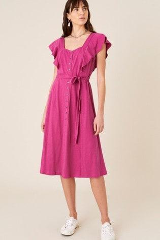 Monsoon Pink Fia Button Frill Jersey Dress