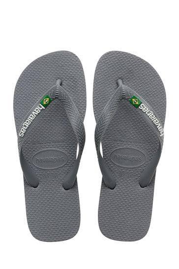 Havaianas Grey Brasil Logo Flip Flops