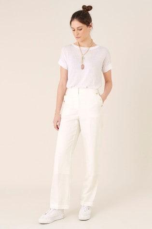 Monsoon White Smart Shorter Length Linen Blend Trousers
