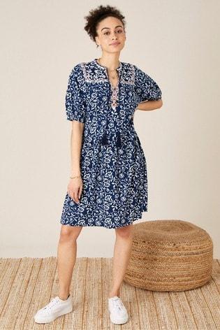 Monsoon Blue Batik Print Dress With Organic Cotton