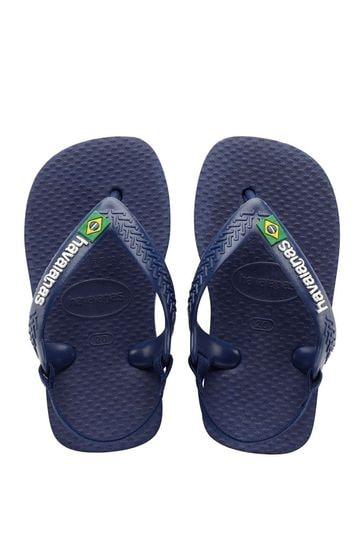 Havaianas Blue Baby Brasil Logo Flip Flops