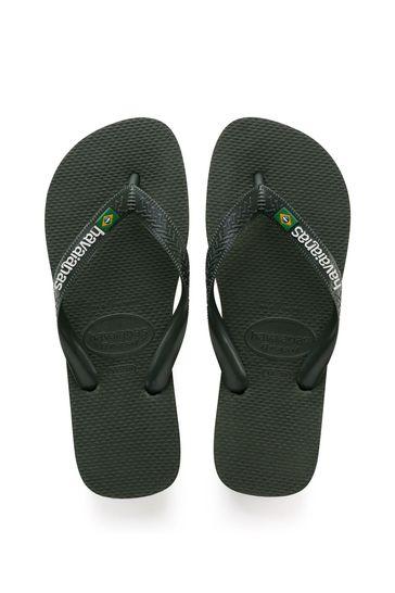 Havaianas Green Brasil Logo Flip Flops