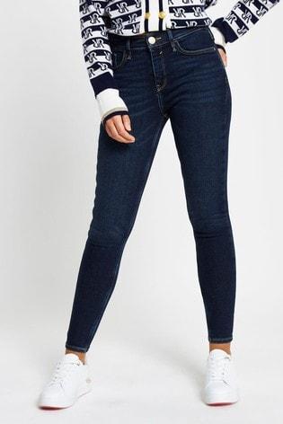 River Island Denim Dark Amelie Mid Rise Smokey Jeans