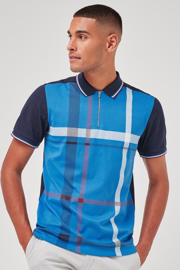 Blue Check Print Polo Shirt