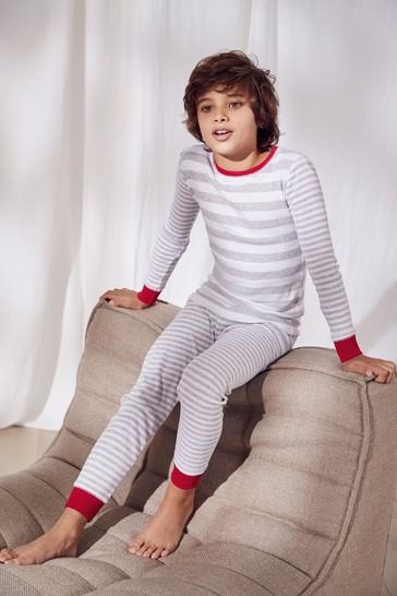 The White Company Grey Stripe Pyjamas