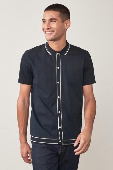 Navy Button Through Polo Shirt