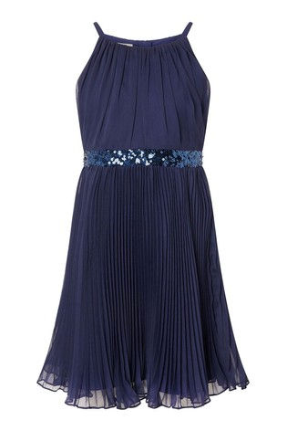 Monsoon Blue Sequin Waistband Chiffon Prom Dress
