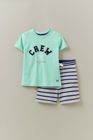 Crew Clothing Company Green Jersey Shorts Stripe With T-Shirt Set