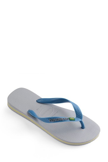 Havaianas Grey Blue Brasil Logo Flip Flops