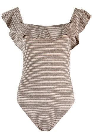 Oliver Bonas Brown Sparkle Stripe Bardot Swimsuit