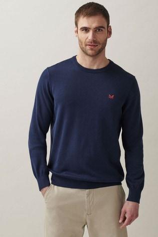Crew Clothing Company Heritage Navy Cotton Crew Neck Jumper
