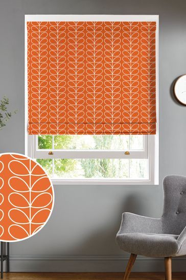Orla Kiely Orange Linear Stem Made To Measure Roman Blind