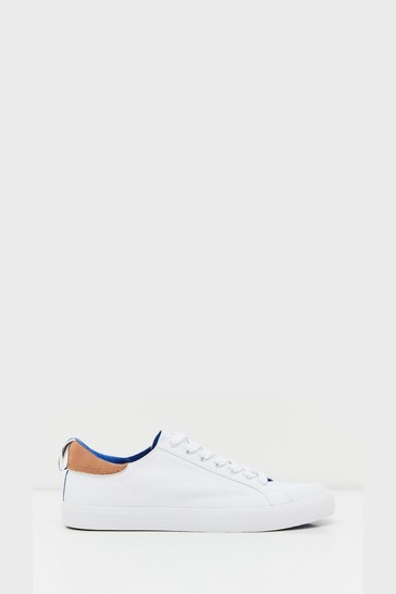 White Stuff White Canvas Lace-Up Trainers
