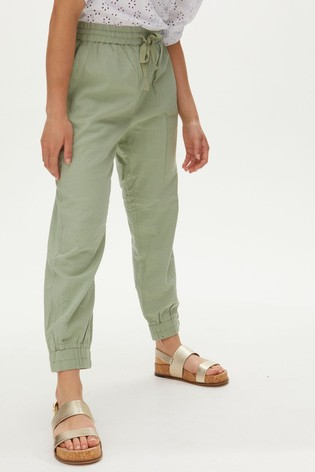 Oliver Bonas Washed Linen Mix Sage Casual Trousers