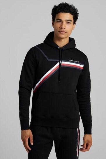 Tommy Hilfiger Black Split Corp Stripe Hoodie