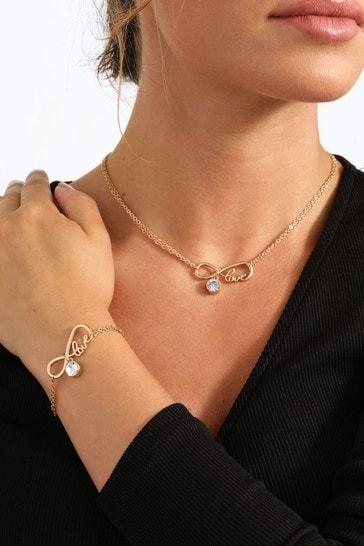 Caramel Jewellery London For The Love of Sparkle Infinity Gold Necklace & Bracelet Set