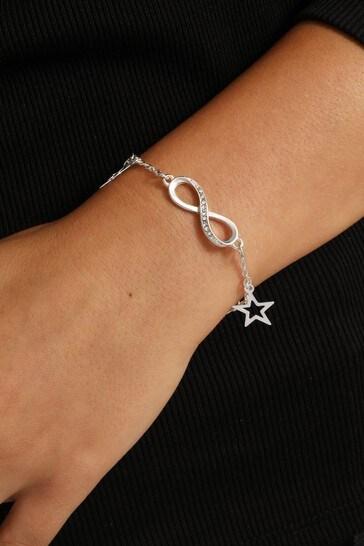 Caramel Jewellery London Silver Tone Endless Love Infinity Charm Crystal Effect Bracelet