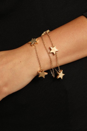 Caramel Jewellery London Gold Tone Cascading Star Layer Positivity Charm Bracelet