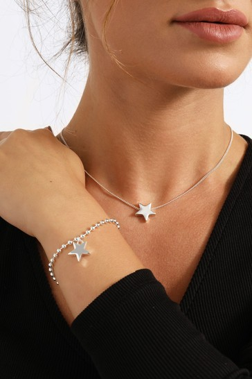 Caramel Jewellery London Star Charm Silver Friendship Necklace & Bracelet Set