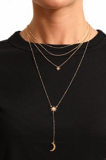 Caramel Jewellery London Layered Gold Tone Sun And Moon Positivity Necklace