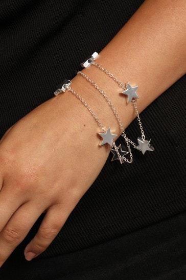 Caramel Jewellery London Silver Tone Cascading Star Layer Positivity Charm Bracelet
