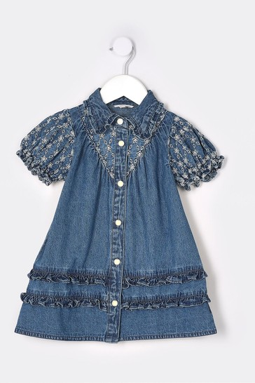 River Island Blue Denim Broidery Dress