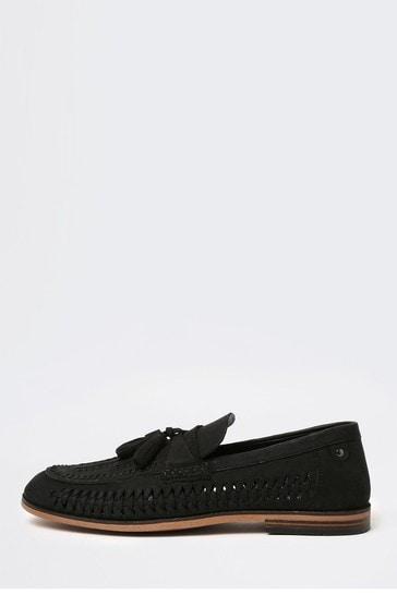 River Island Black Woven Tassel Loafers