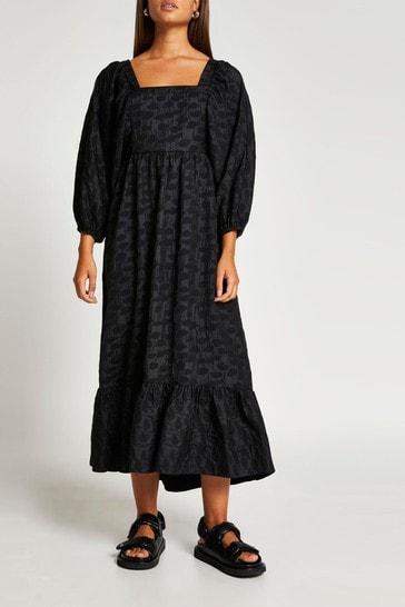 River Island Black Exaggerated Sleeve Shirred Dress