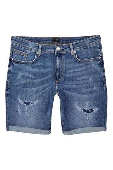 River Island Blue Ripped Baz Shorts