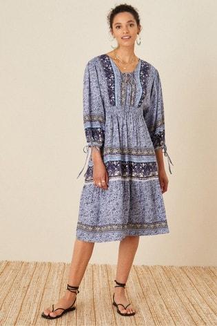Monsoon Sequin Printed Midi Dress