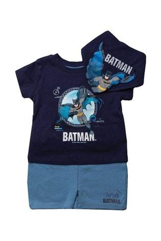 Batman Navy 3 Piece T-Shirt, Short, Bandana Bib Set