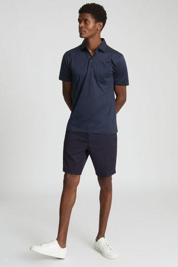 Reiss Blue Elliot Mercerised Egyptian Cotton Polo Shirt