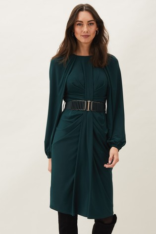 Phase Eight Green Mya Ruched Jersey Dress