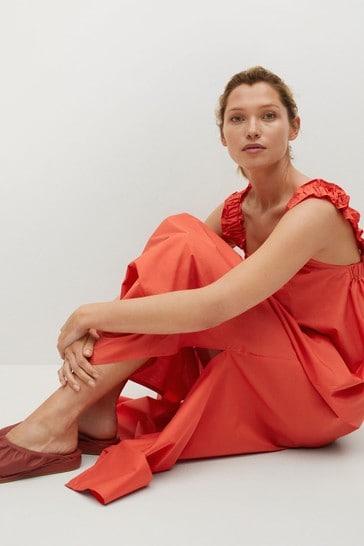 Mango Red Cotton Midi Dress