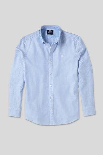 Charles Tyrwhitt Blue and White Stripe Classic Fit RFU Button-Down Washed Oxford Shirt