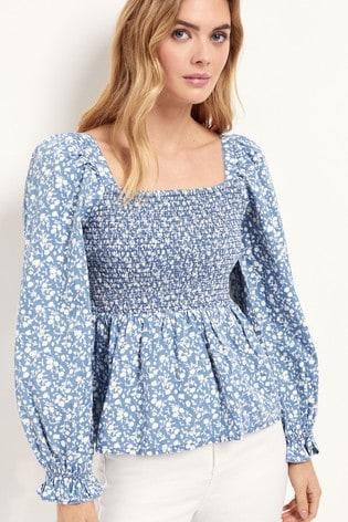Lipsy Multi Blue Printed Shirred Top