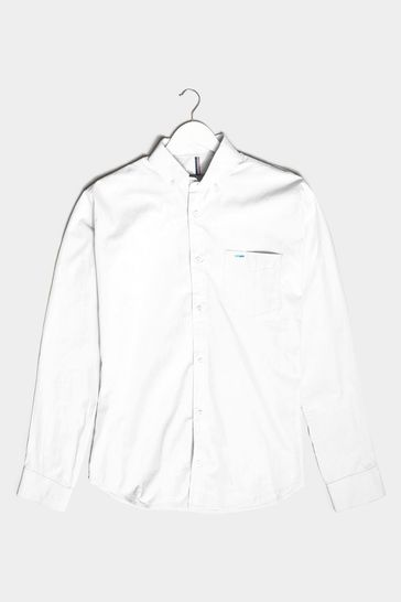 BadRhino White Cotton Poplin Long Sleeve Shirt