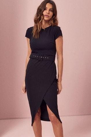 Lipsy Self Covered Belt Regular Belted Bodycon Dress