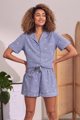 Love & Roses Blue and white Pyjama Shirt And Short Set