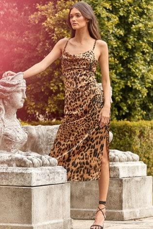 Lipsy Animal Cowl Neck Slip Midi Dress