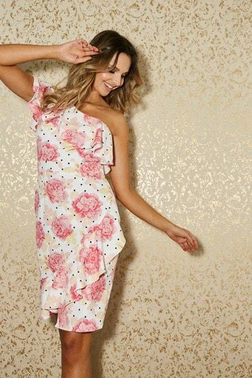 Little Mistress Pink Dalston Floral-Print One-Shoulder Frill Dress