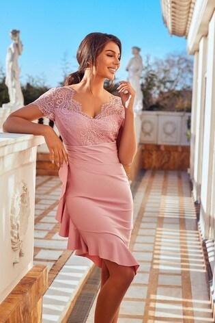 Sistaglam Pink 2 in 1 Lace Midi Dress