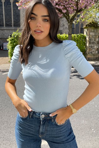 Lipsy Light Blue Ruched Sleeve Knitted Top