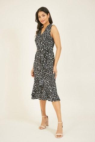 Mela Black London Dash Print Wrap Dress