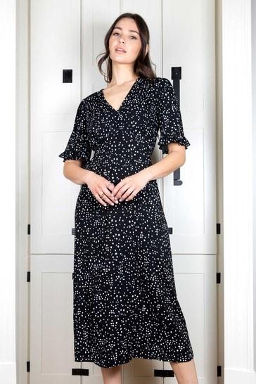 Rae Monochrome Rosie Midi Tiered Tea Dress