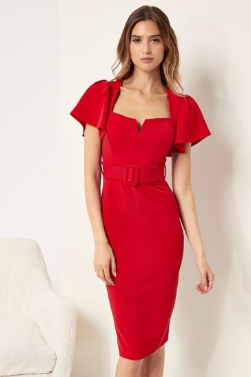 Lipsy Red Square Neck Belted Midi Dress