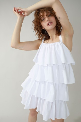 Pimkie White Layered Dress