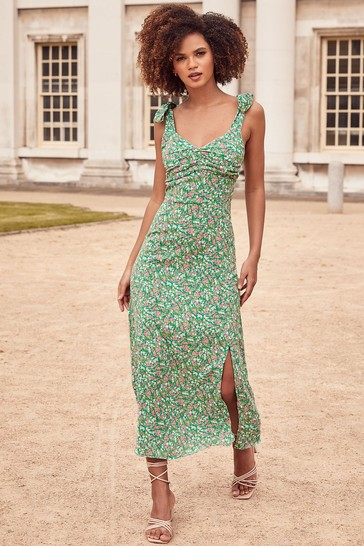 Lipsy Green Printed Strap Midi Dress